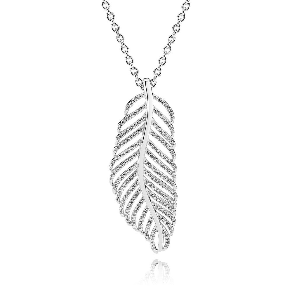 Light as a feather pendant necklace clear cz pandora jewelry us light as a feather pendant necklace clear cz mozeypictures Images