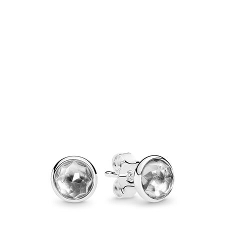 April Droplets Stud Earrings, Rock Crystal, Sterling silver, Grey, Crystal - PANDORA - #290738RC