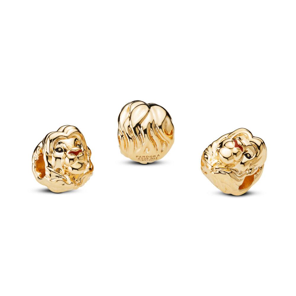 LIMITED EDITION Disney, The Lion King Simba Charm, Pandora Shine™ 18ct Gold  Plated, Enamel, Black