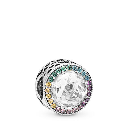 Multi-Color Radiant Hearts Charm, Multi-Colored CZ