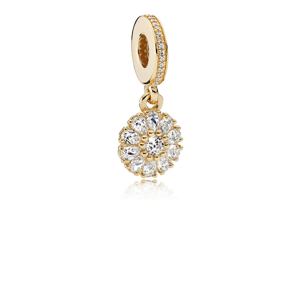 Gold Pandora Jewelry: Embellished Floral Dangle Charm, 14K Gold & Clear CZ