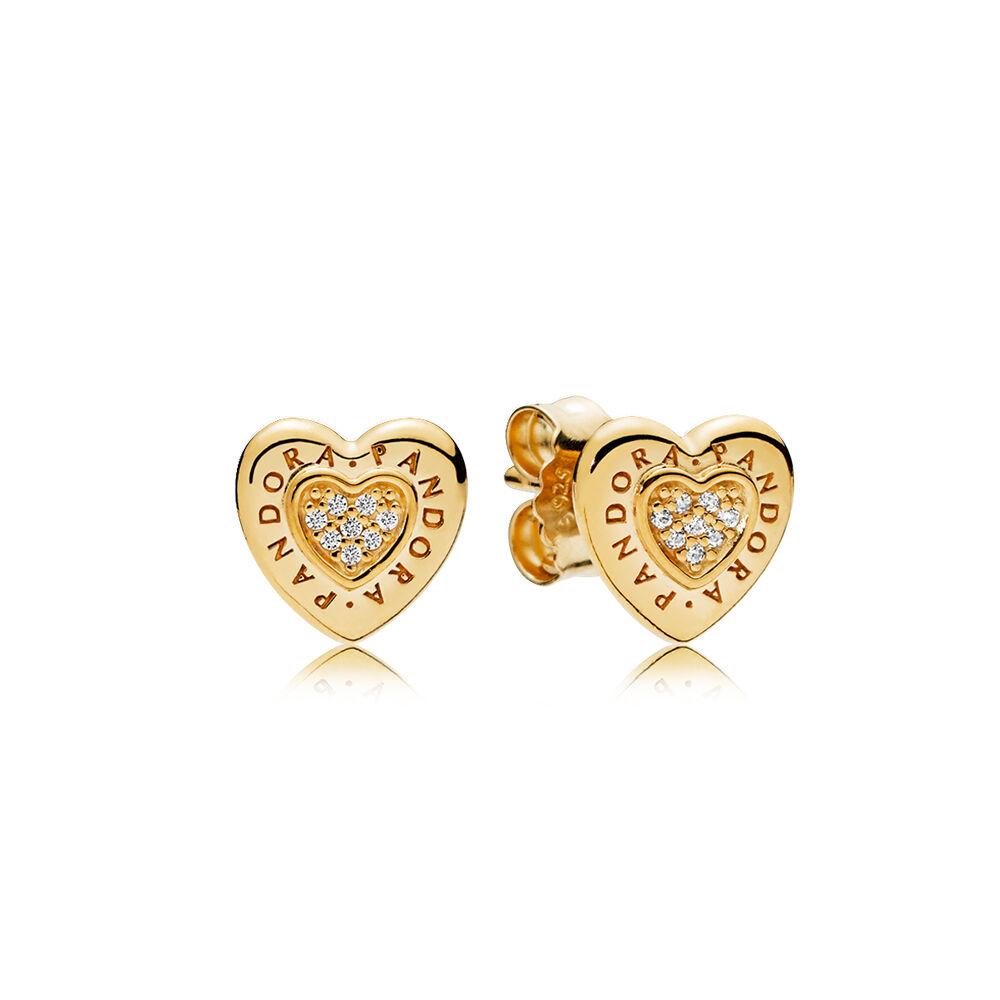 Pandora Earrings Heart: PANDORA Signature Heart Stud Earrings, PANDORA Shine