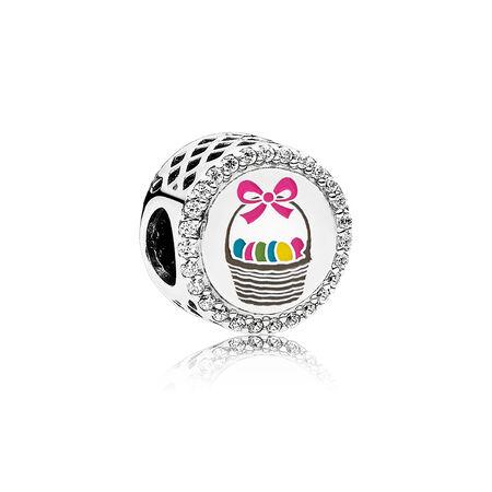 Easter Basket Charm, Mixed Enamel, Sterling Silver, Enamel, Pink, Cubic Zirconia - PANDORA - #ENG792016CZ_19
