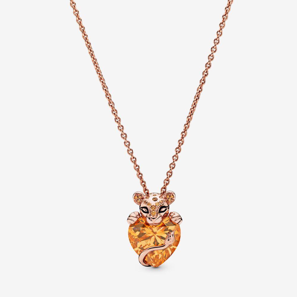 Sparkling Lioness Heart Pendant Necklace