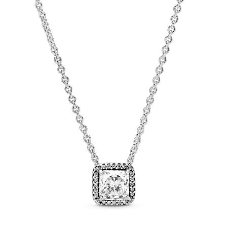 Timeless Elegance Necklace, Clear CZ, Sterling silver, Cubic Zirconia - PANDORA - #396241CZ-45