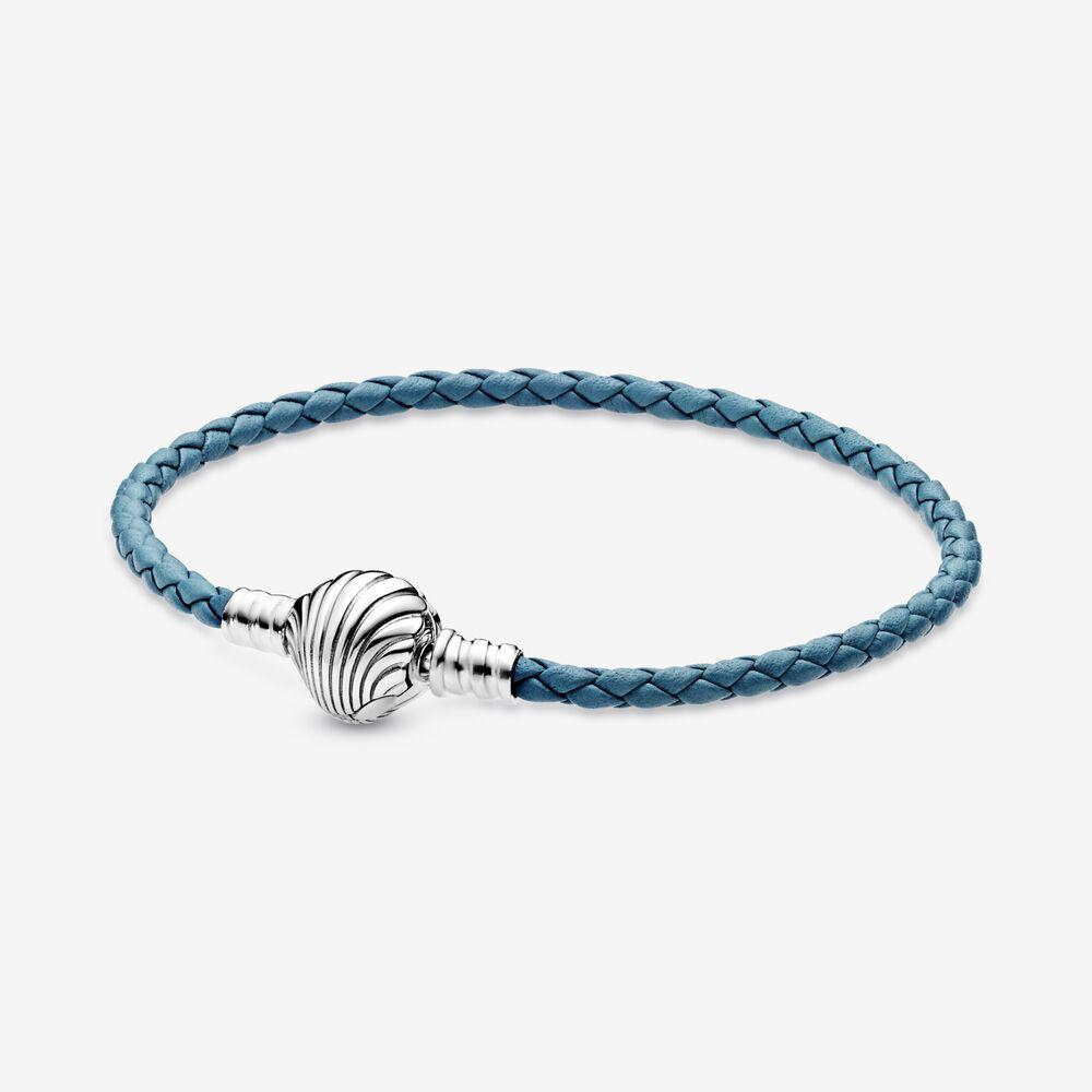 Pandora Moments Seashell Clasp Turquoise Braided Leather Bracelet ...