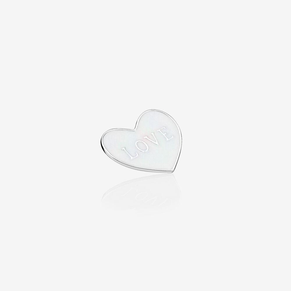 Love Heart Locket Plate, Medium, Silver Enamel