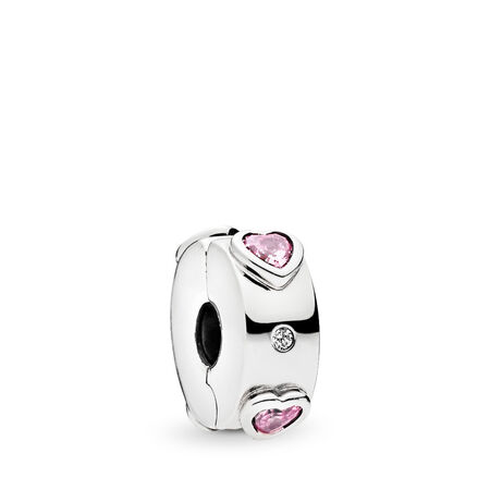 Sparkling Pink Hearts Clip Charm, Sterling silver, Silicone, Pink, Cubic Zirconia - PANDORA - #796591FPC