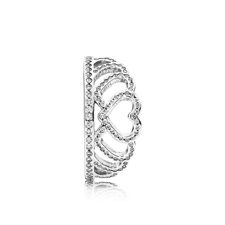 Hearts Tiara Ring, Clear CZ