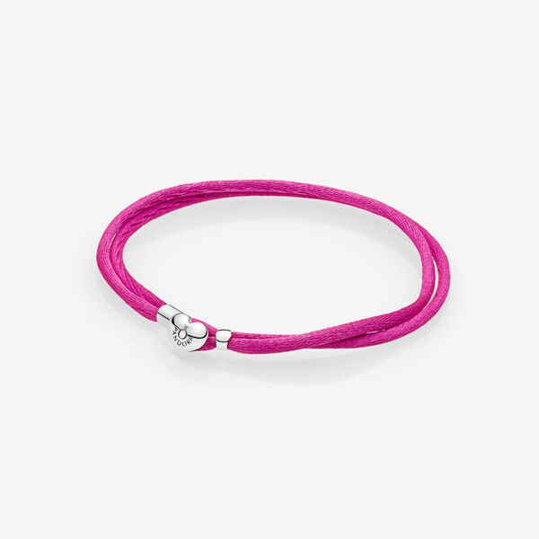 Fabric Cord Bracelet, Hot Pink