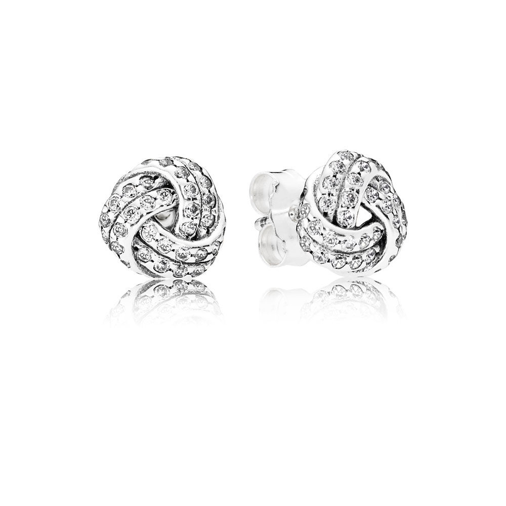 Sparkling Love Knots Stud Earrings Clear Cz