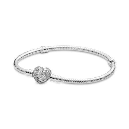 Pavé Heart Bracelet Clear Cz