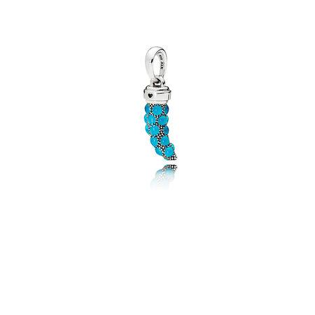 Turquoise Italian Horn Necklace Pendant, Turquoise Enamel