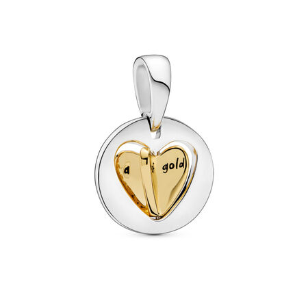 Mom's Golden Heart Dangle Charm PANDORA Shine and sterling silver