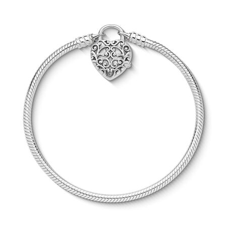 Smooth Silver Padlock Bracelet, Regal Heart