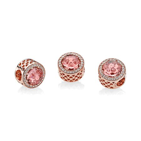 Radiant Hearts Charm, PANDORA Rose™, Blush Pink Crystal & Clear CZ