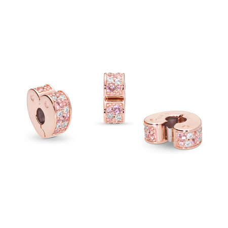 Arcs of Love Clip, PANDORA Rose™, Light Pink & Rose Pink Crystals & Clear CZ