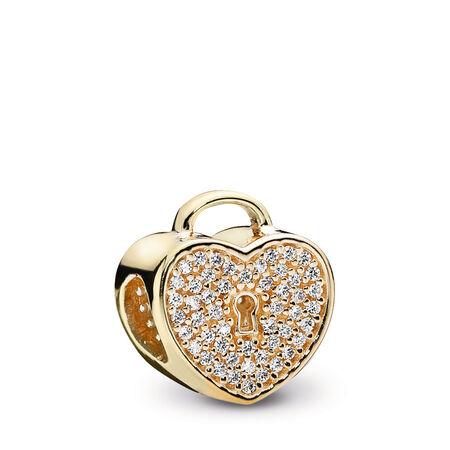 Heart Lock Charm, Clear CZ & 14K Gold, Yellow Gold 14 k, Cubic Zirconia - PANDORA - #750833CZ