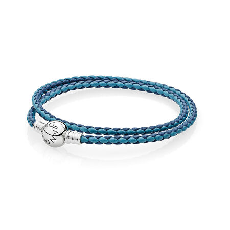 Mixed Blue Woven Double-Leather Charm Bracelet