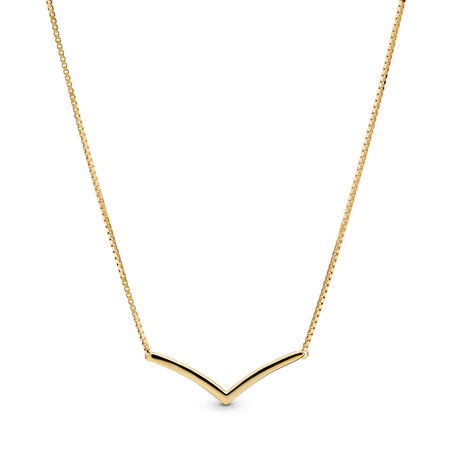 Shining Wish Necklace, PANDORA Shine™, 18ct Gold Plated, Silicone - PANDORA - #367803
