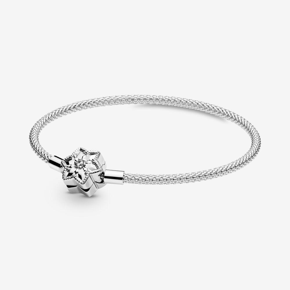 Pandora Moments Bright Snowflake Clasp Mesh Bracelet