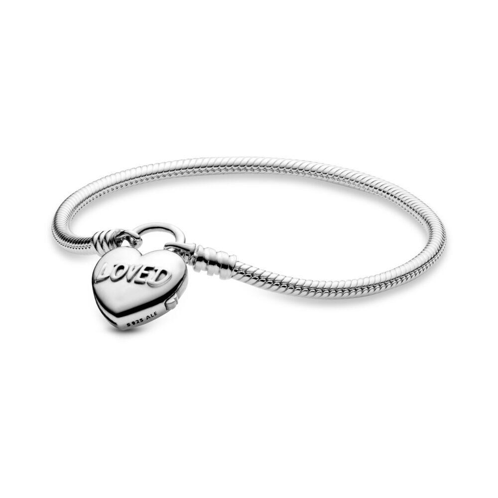 5b23841aa You Are Loved Heart Padlock Bracelet, Sterling silver - PANDORA - #597806