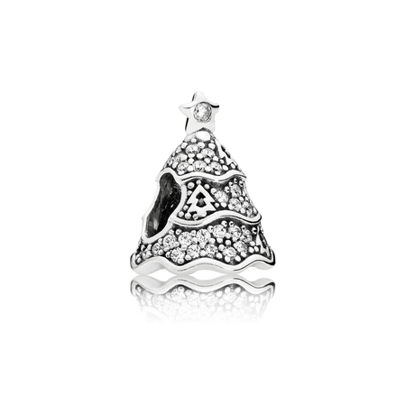 Twinkling Christmas Tree Charm, Clear CZ