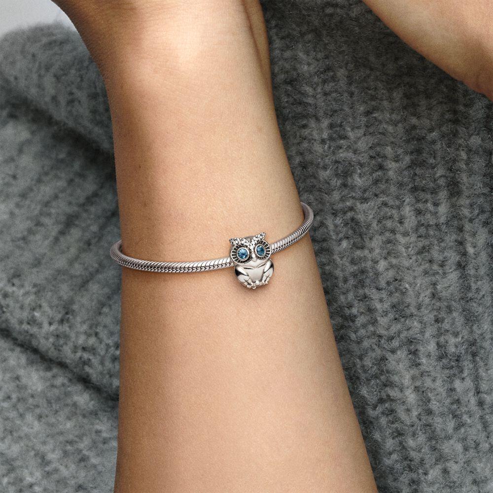 Sparkling Owl Charm Sterling Silver Pandora Us
