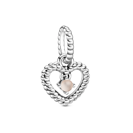 Misty Rose Beaded Heart Dangle Charm