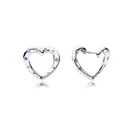 Bright Hearts Hoop Earrings, Royal Purple & Lilac Crystals & Clear CZ