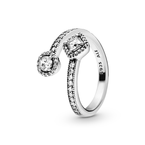 Sparkling Square & Circle Open Ring