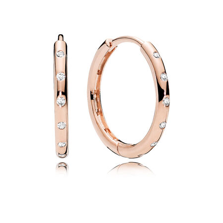 Droplets Hoop Earrings, PANDORA Rose™ & Clear CZ