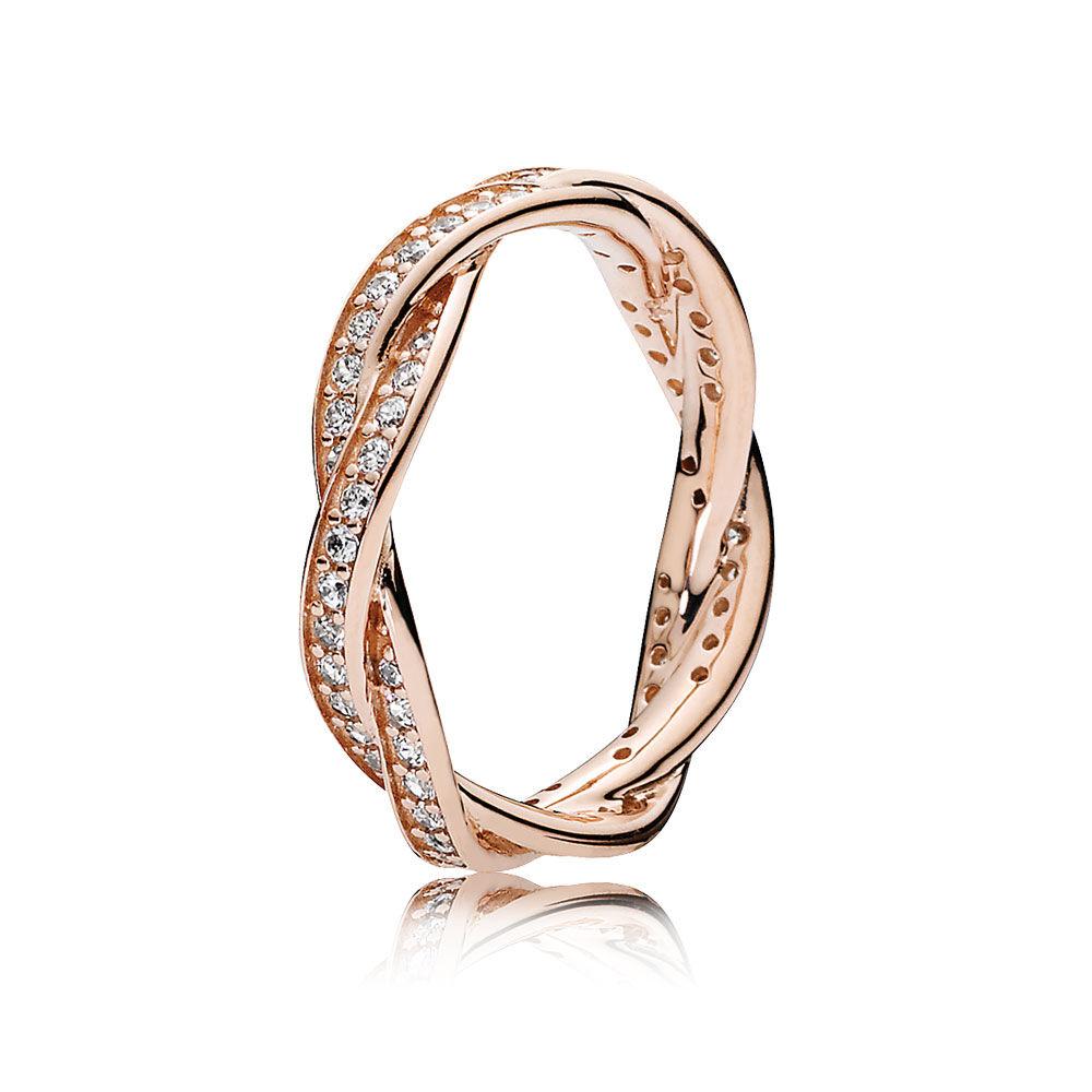 Twist of Fate Ring, PANDORA Rose™ & Clear CZ | PANDORA Jewelry US