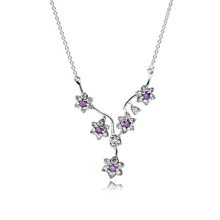 Forget Me Not Necklace, Purple & Clear CZ
