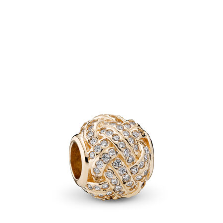 Sparkling Love Knot Charm, 14K Gold & Clear CZ