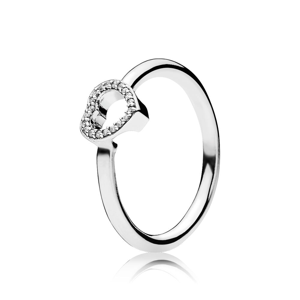 Puzzle Heart Frame Ring Clear Cz Pandora Jewelry Us