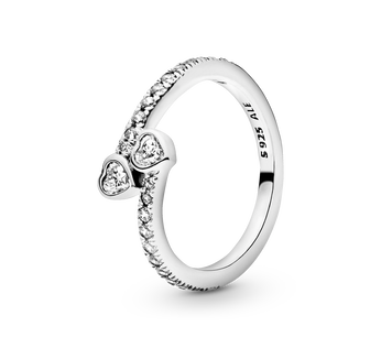 Two Sparkling Hearts Ring