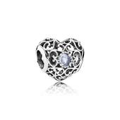 March Signature Heart Charm, Aqua Blue Crystal