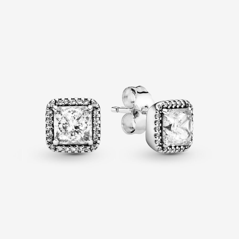 Clear Square Sparkle Halo Stud Earrings