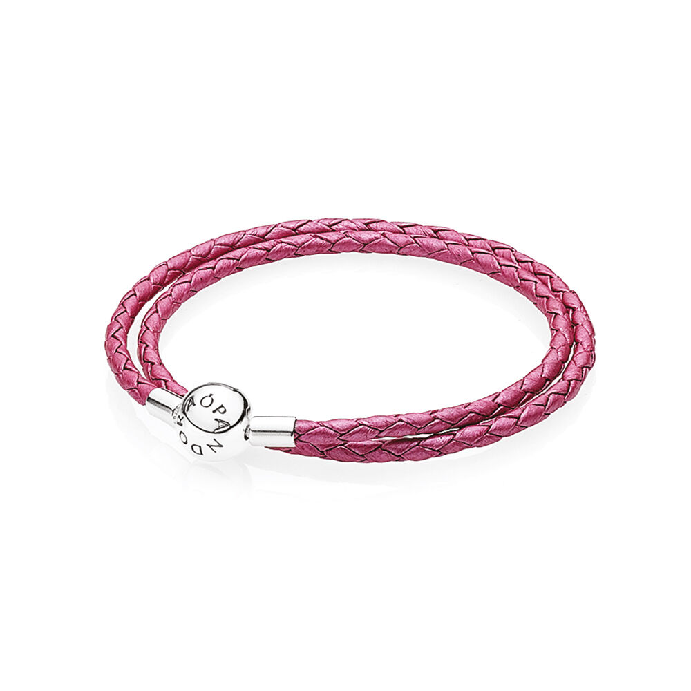 honeysuckle pink leather charm bracelet pandora jewelry us. Black Bedroom Furniture Sets. Home Design Ideas