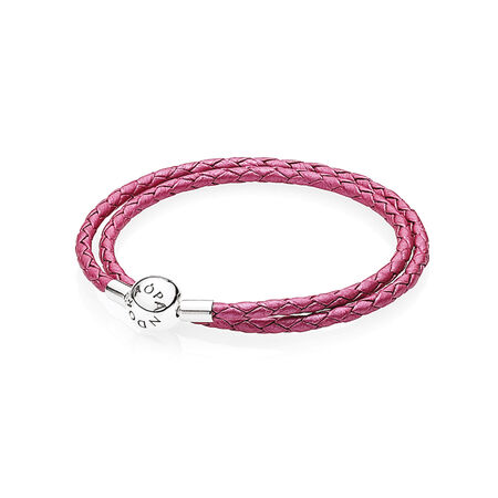 Honeysuckle Pink Leather Charm Bracelet