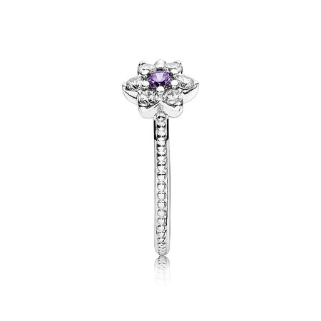 Forget Me Not Ring, Purple & Clear CZ