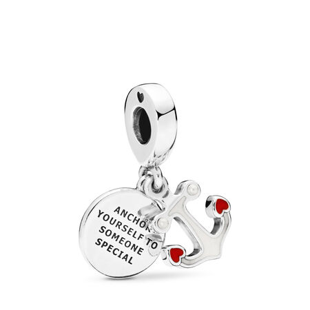 Anchor of Love Dangle Charm, Red & Black Enamel, Sterling silver, Enamel, Red, Crystal Pearl - PANDORA - #797208ENMX