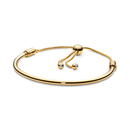 Sliding Bangle Bracelet, Pandora Shine™, 18ct Gold Plated, Cubic Zirconia - PANDORA - #567953CZ