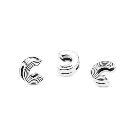 Pandora Reflexions™ Letter C Clip Charm, Sterling silver, Silicone - PANDORA - #798199