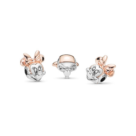 Disney, Two-tone Minnie Portrait Charm, PANDORA Rose™, PANDORA Rose with sterling silver, Silicone - PANDORA - #787504