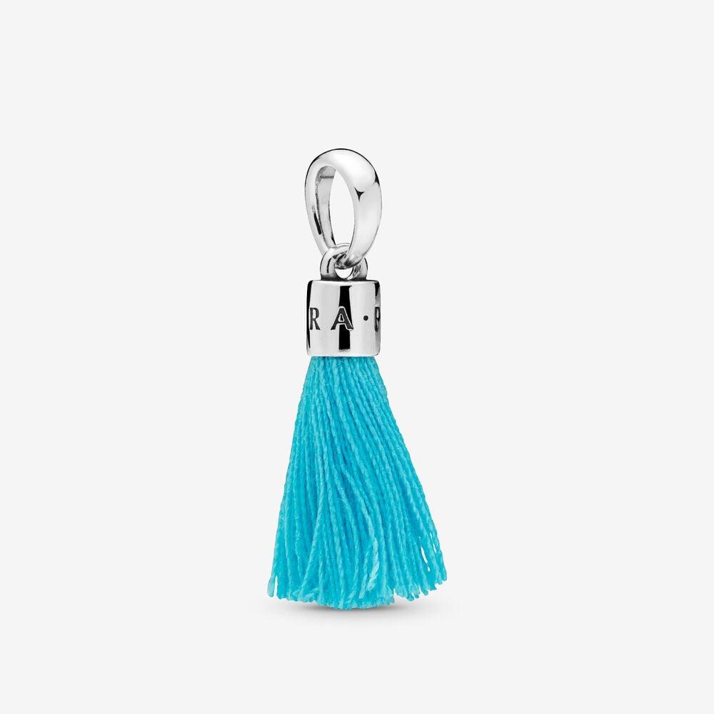 Turquoise Fabric Tassel Dangle Charm