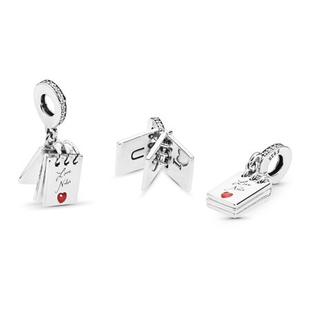 Love Notes Charm, Clear CZ & Crimson Red Enamel