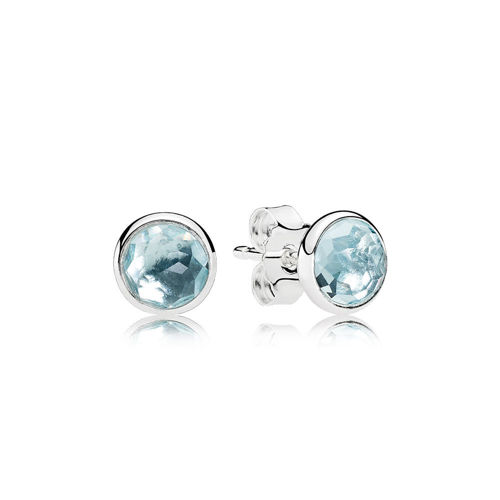 March Droplets Stud Earrings Aqua Blue Crystal