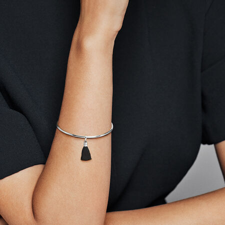 Black Fabric Tassel Dangle Charm